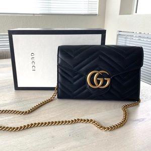 GUCCI Marmont Matelassé Wallet on a Chain Mini Bag